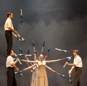 Circus performers on stage